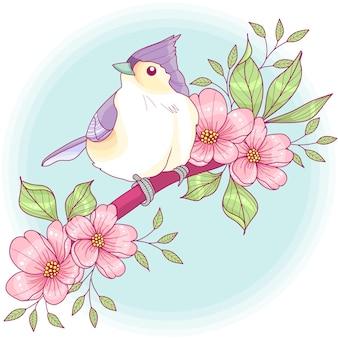Titmouse em um ramo floral
