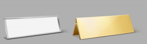 Titular do cartão de mesa de metal, placa de identificação dourada vazia