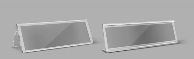 Titular do cartão de mesa de plástico transparente Vetor grátis