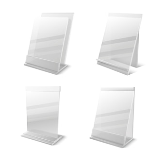 Titulares vazios de plexiglass transparente de informações de negócios