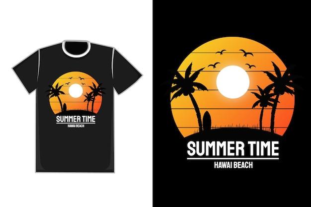 Título da camiseta, horário de verão, praia no havaí, cor laranja, branco e amarelo