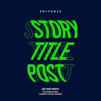 Título da história post efeito de texto efeito stabilo vetor premium editável