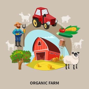 Título de fazenda orgânica de composição de desenho animado de fazenda com equipamentos e elementos de edifícios k
