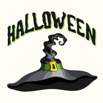 Título de halloween e estilo de desenho animado vetor chapéu preto de bruxa isolado no fundo branco