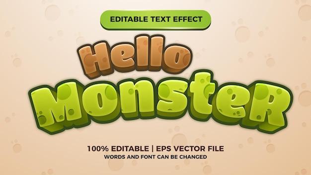 Título de jogos de quadrinhos com efeito de texto editável hello monster