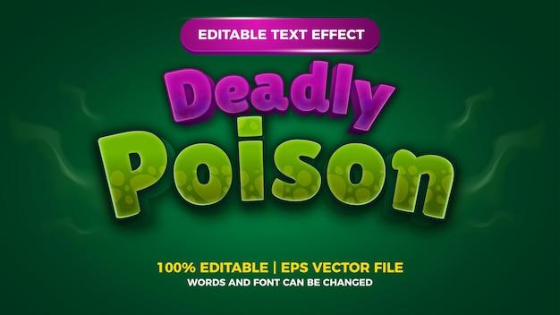 Título de jogos em quadrinhos com efeito de texto editável de veneno mortal