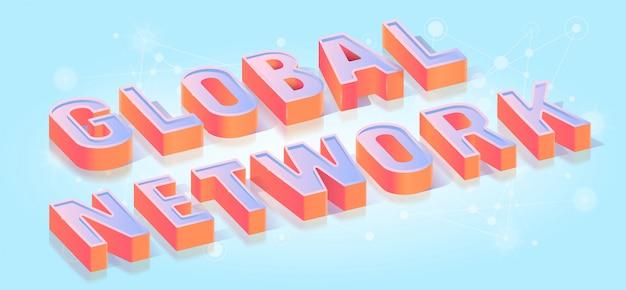 Título de rede global isométrico