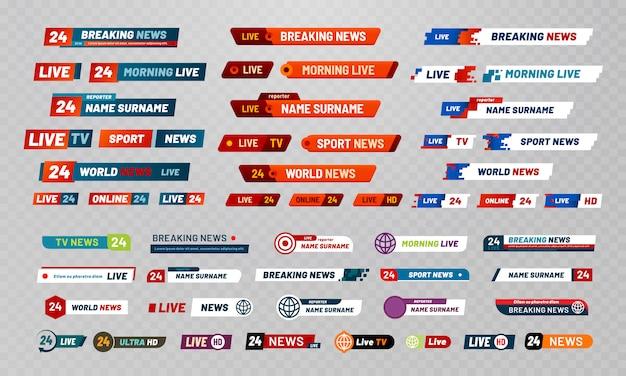 Título de transmissão de tv. banners de canais de transmissão de televisão, títulos de programas e notícias conjunto de banner de vídeo ao vivo