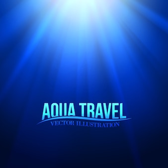 Título de viagem aqua sobre o ambiente subaquático azul.