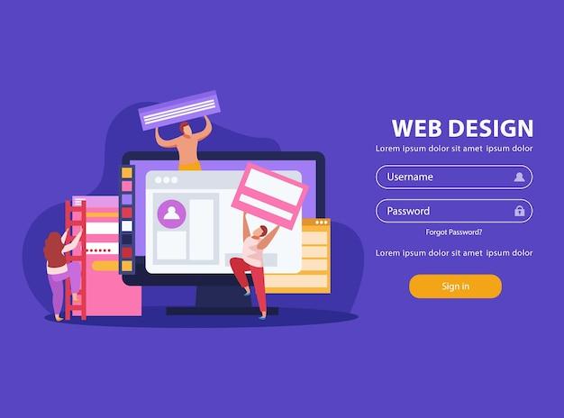 Título de web design e interface de conta pessoal