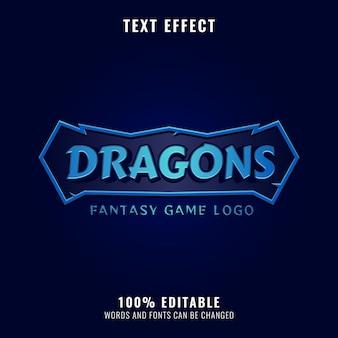 Título do logotipo do jogo fantasy dragon rpg com efeito de quadro de texto