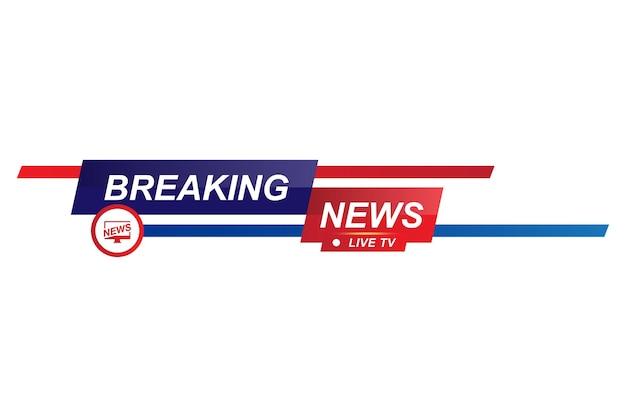 Título do modelo de notícias de última hora para canal de tv de tela em fundo branco. ilustração vetorial plana eps10