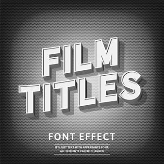 Títulos de filme 3d efeito de texto estilo vintage