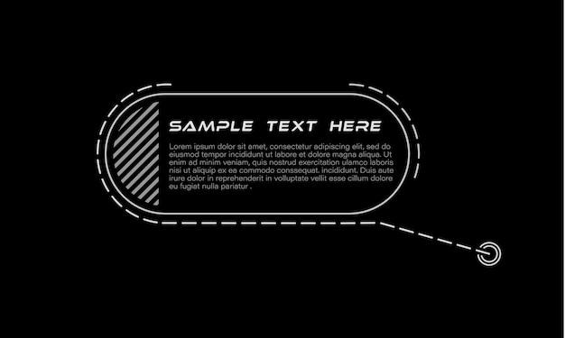 Títulos de legendas digitais conjunto de modelo de quadro futurista de sci fi hud elemento de layout para infográficos de brochura na web banners modernos do terço inferior para apresentação isolada em preto. Vetor Premium