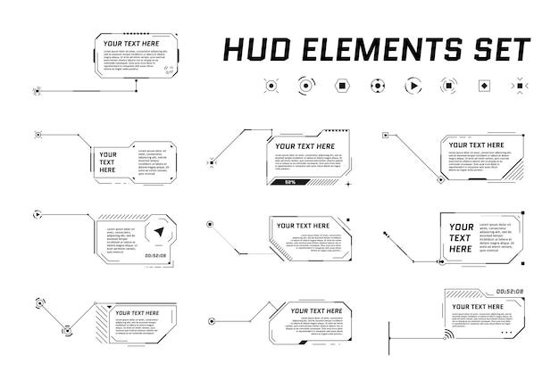 Títulos de texto explicativo de estilo futurista do hud em fundo branco. barras de caixa de seta de chamada de informações e modelos de layout de moldura preta de informações digitais modernas. interface ui e conjunto de elementos gui. ilustração vetorial