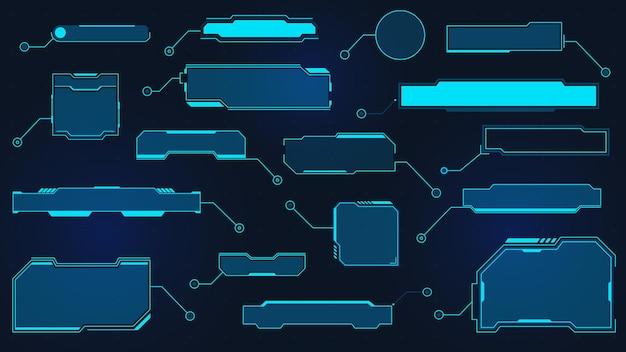 Títulos de texto explicativo futuristas. caixa de texto de ficção científica virtual para hud. quadros de dados de holograma de tecnologia. textos explicativos da cyber ui. conjunto de vetores de elemento de layout digital. barras da cabine de informações e informações modernas
