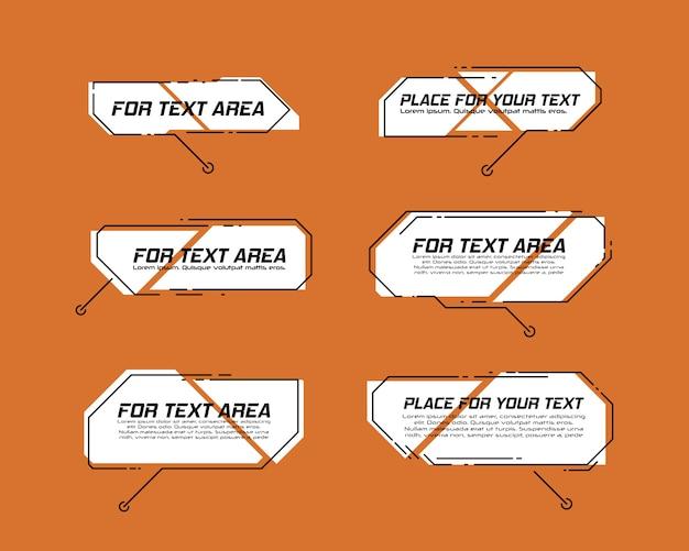Títulos de textos explicativos digitais. conjunto de modelo de quadro futurista sci fi de hud. elemento de layout para web, folheto, apresentação ou infográficos. elementos da interface hud, ui, gu.