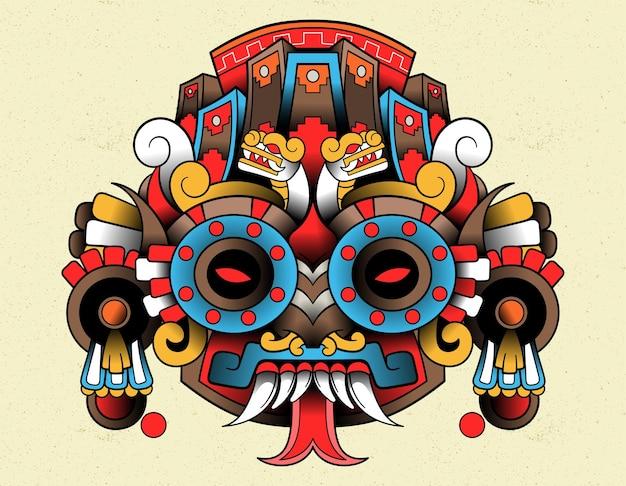 Tlaloc máscara vermelha asteca