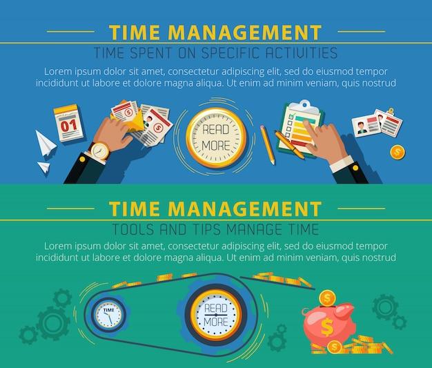 Tme management concept 2 conjunto de banners