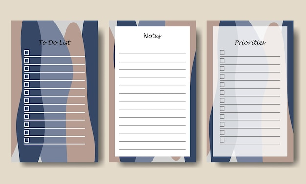 To do list and notes template with abstract blue taupe background