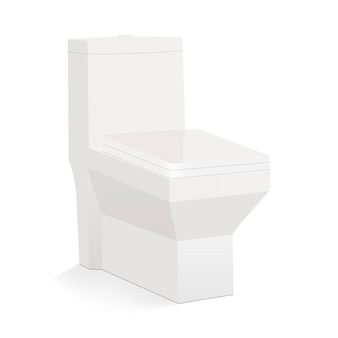 Toalete cerâmico quadrado isolado no fundo branco - vista lateral. ilustração