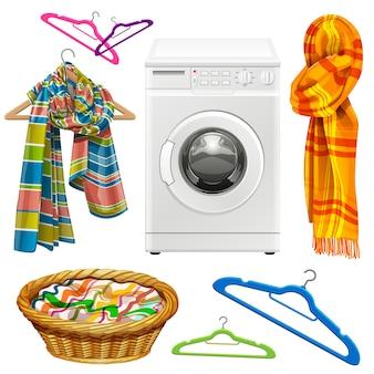 Toalha, cachecol, cesto, cabides e máquina de lavar