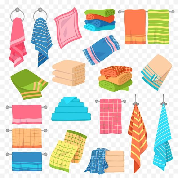 Toalha de desenho animado. cozinha, praia e banho pendurados e toalhas empilhadas. rolos para spa, higiene, objetos têxteis