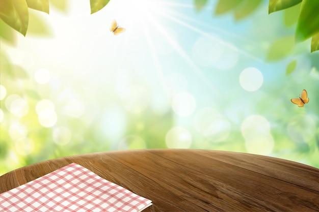 Toalha de mesa de grade na mesa de madeira e bokeh natureza na ilustração 3d