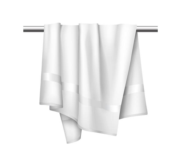 Toalha de pano branco no cabide, maquete realista de toalha de tecido para banheiro