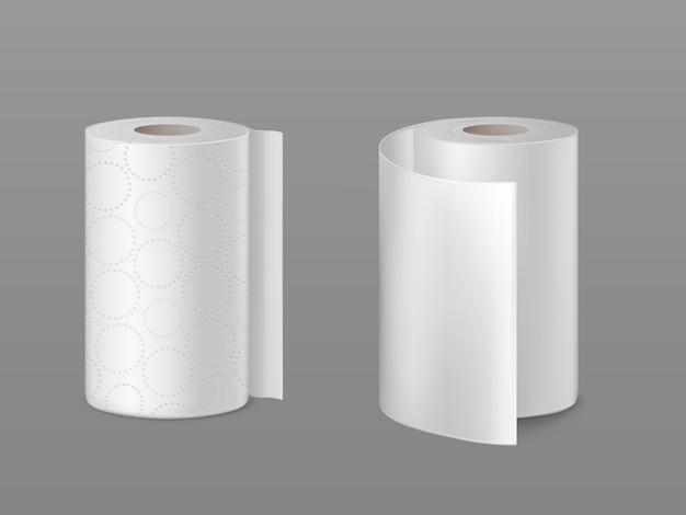 Toalha de papel de cozinha, rolos de papel higiênico macios com círculos perfurados e superfície branca lisa
