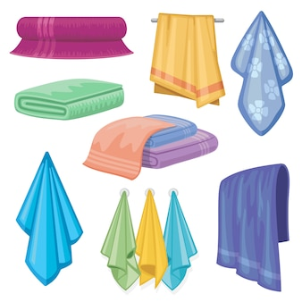 Toalha de tecido de algodão. banheiro e toalhas de cozinha domésticos e símbolos de higiene