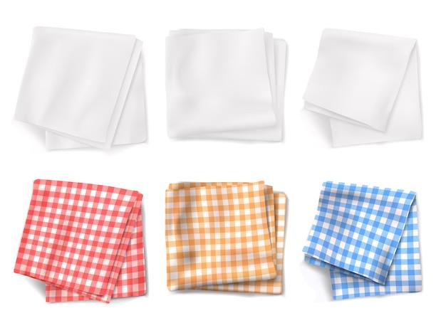 Toalhas de mesa de algodão e toalhas de cozinha brancas, vista superior