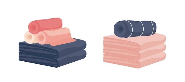 Toalhas de tecido de mão e banho coloridas realistas enroladas isoladas no fundo branco. limpe a ilustração em vetor de limpador de algodão de higiene pastel. matéria têxtil colorida de banheiro.
