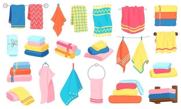 Toalhas de tecido dos desenhos animados. toalhas de banho, cozinha, enroladas e penduradas. conjunto de ícones de ilustração de têxteis de banheiro fofo de algodão. toalha de banho de algodão, tecido hotel e praia