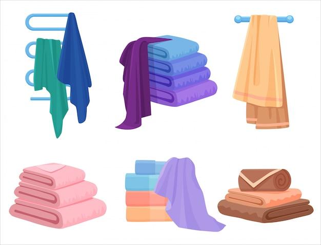 Toalhas de vetor definido. toalha de pano para banho