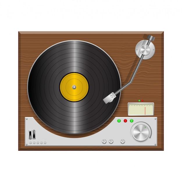Toca-discos vintage design ilustração isolado no fundo branco