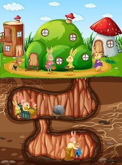 Toca do coelho subterrânea com a superfície do solo da cena do jardim