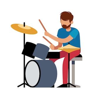 Tocando baterista. jovem profissional toca bateria musical vetor personagem de desenho animado colorido