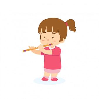 Tocando flauta de menina