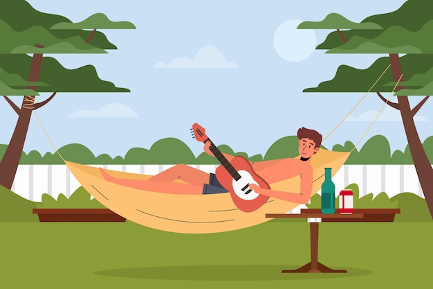 Tocando o conceito de staycation de guitarra