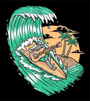 Tocando violão enquanto surfa na ilustração Vetor Premium