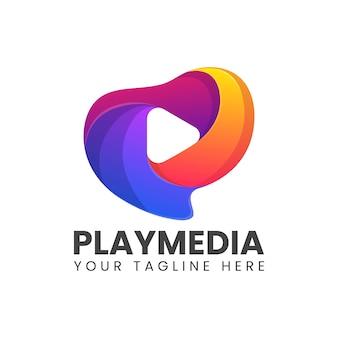 Tocar logotipo colorido abstrato de mídia