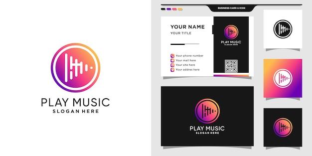 Tocar logotipo de música com conceito de círculo e design de cartão de visita