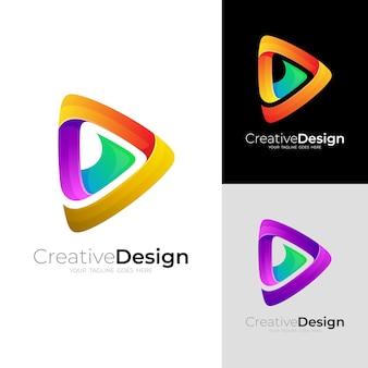 Tocar logotipo e vetor de design de tecnologia, ícone de triângulo