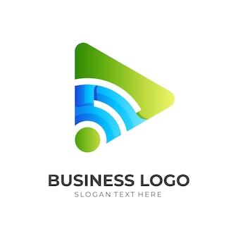 Tocar logotipo wi-fi, reproduzir e sinalizar, logotipo de combinação com estilo de cor verde e azul 3d