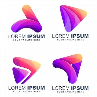 Tocar mídia colorida logos desenhos vector