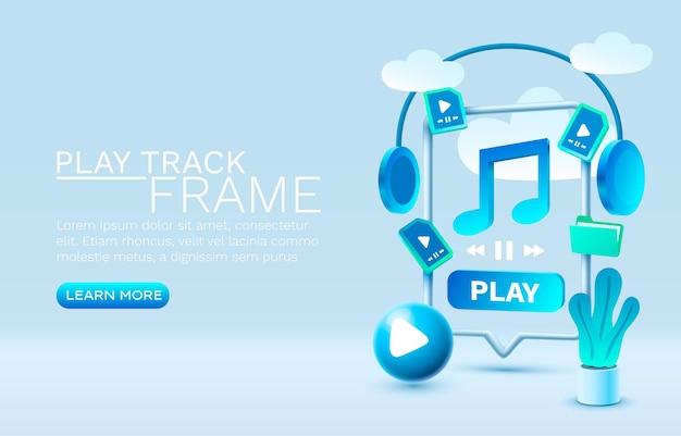 Tocar música smartphone vetor de exibição de tecnologia de tela móvel