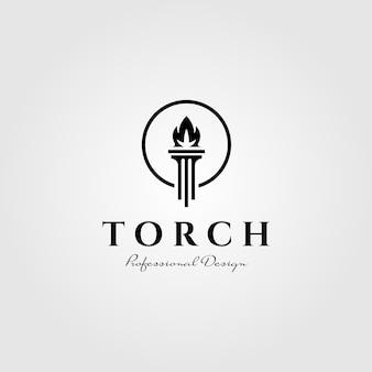 Tocha chama logotipo pilar símbolo ilustração design