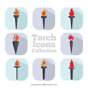 Tocha coleção ícones