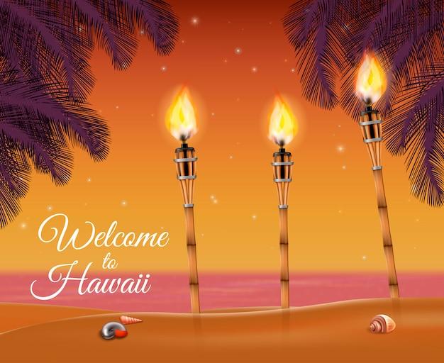 Tocha da praia do havaí